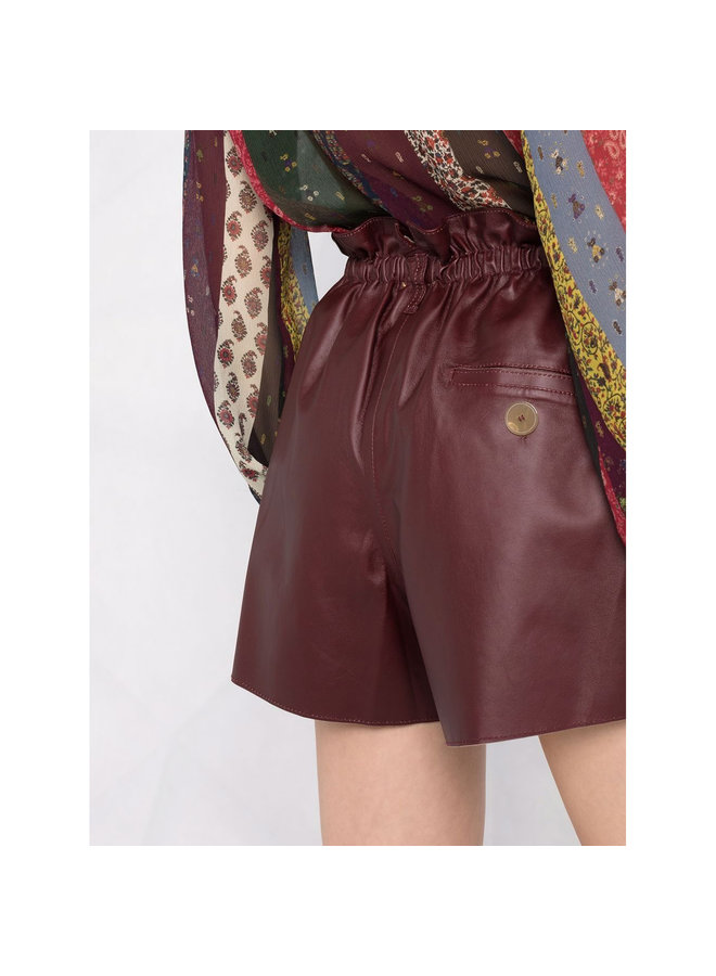 Shorts with Elastic Waist in Chocolate
