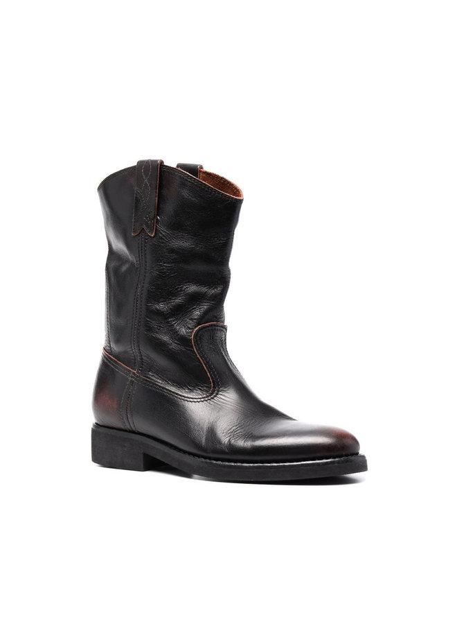 Flat Biker Slouch Boot in Black