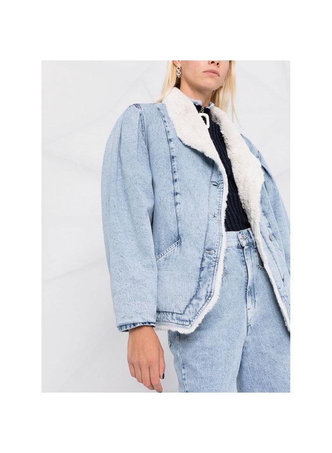 Shawl Collar Denim Outwear in Light Blue
