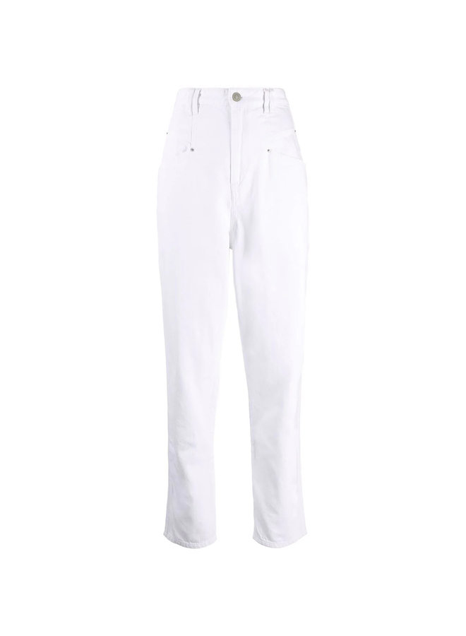 High Waisted Denim Jeans in White