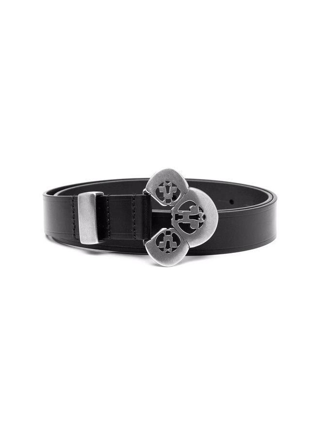 Engraved Buckle Belt in Black/Silver