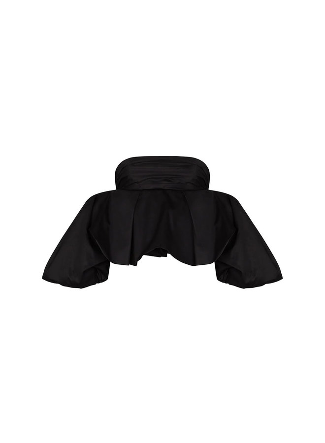 Katerina Puff Short Sleeve Blouse in Black