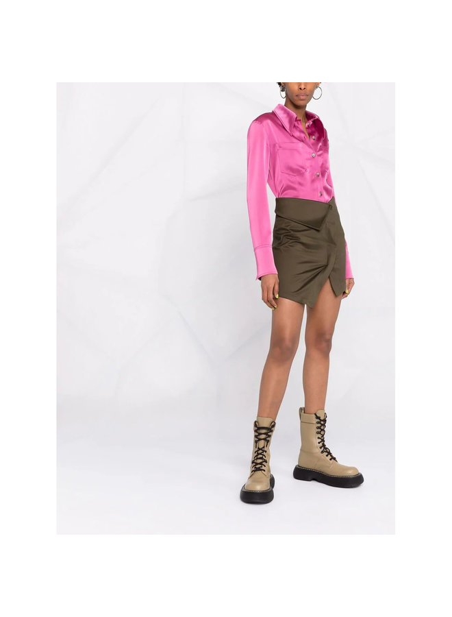 Asymmetric Mini Skirt in Green