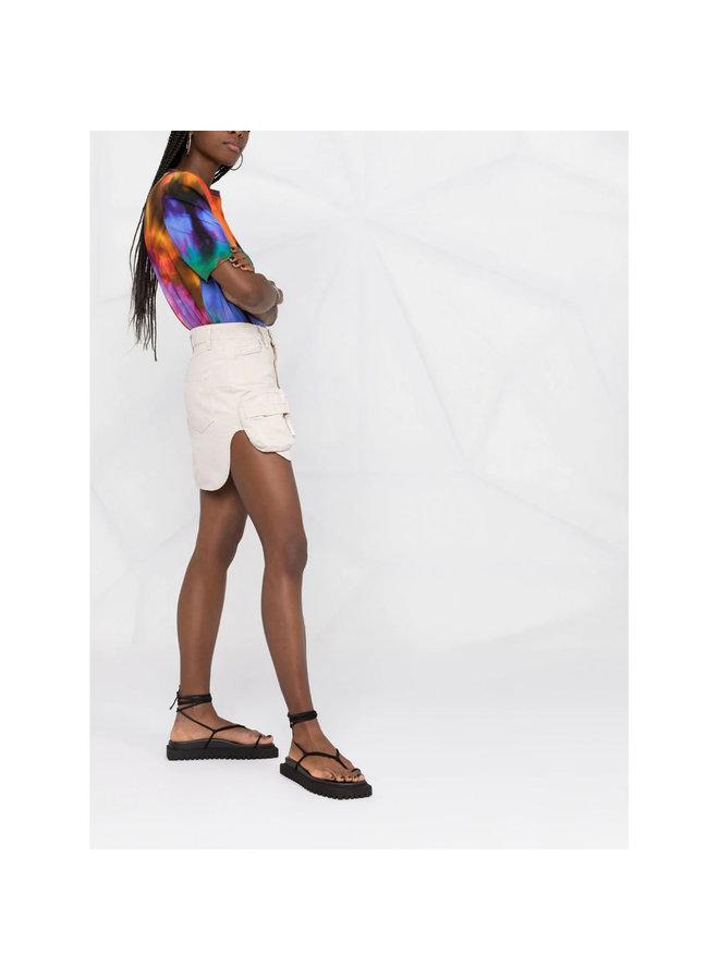 Mini Denim Skirt in Cream