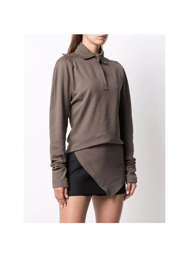 Asymmetric Polo T-Shirt in Taupe