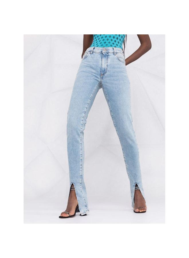 Slit-Detail Skinny Jeans in Light Blue