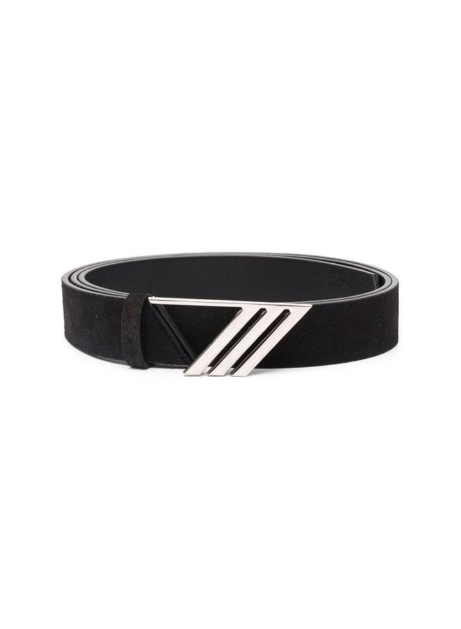 Logo Plaque Belt in Black