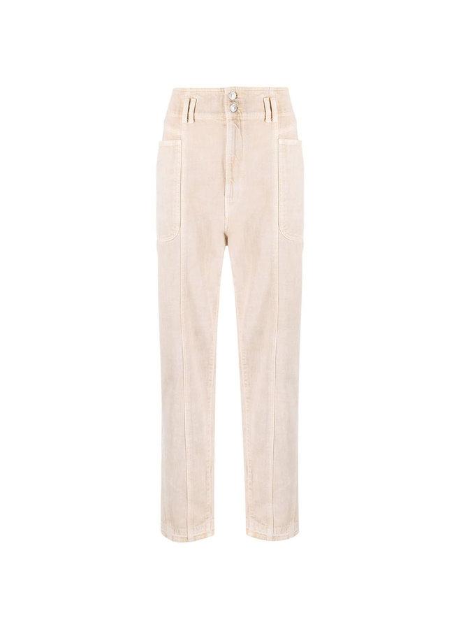 High Rise Straight Leg Denim Pants in Beige