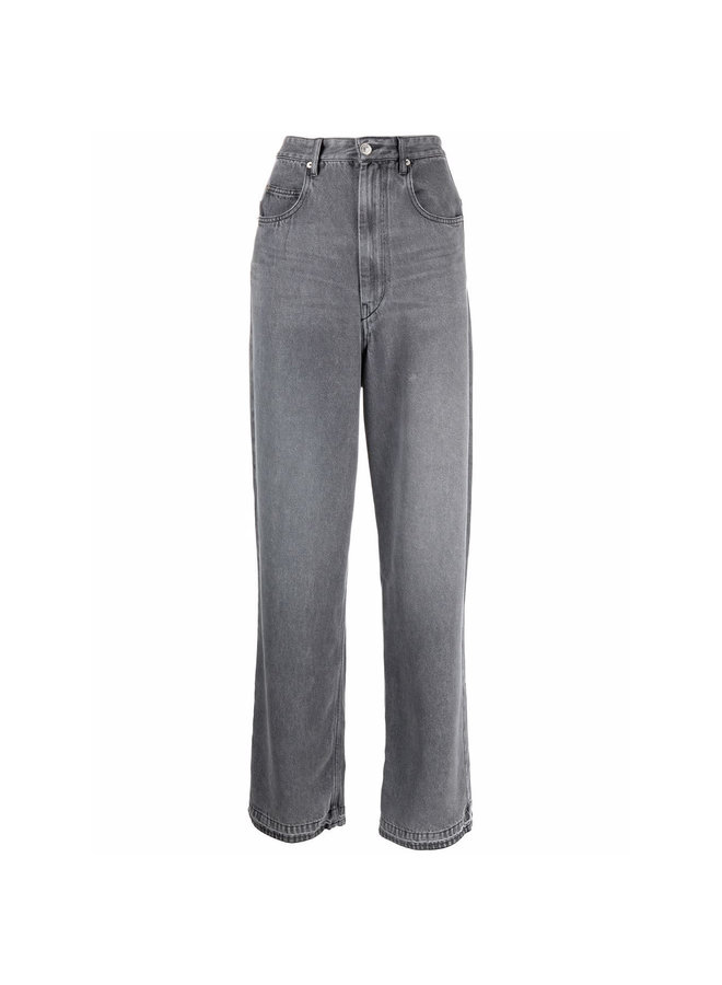 High Rise Wide Leg Denim Pants