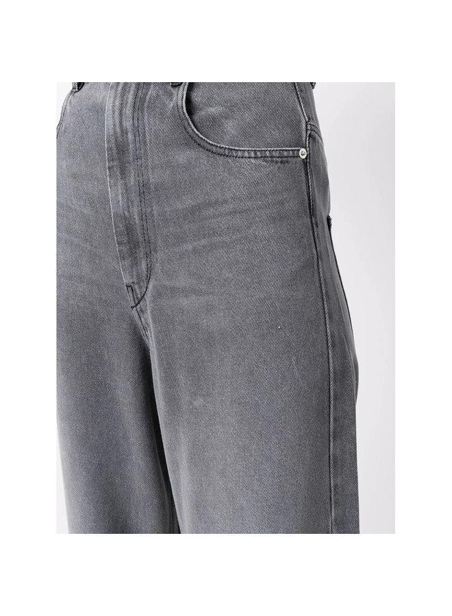 High Rise Wide Leg Denim Pants in Grey