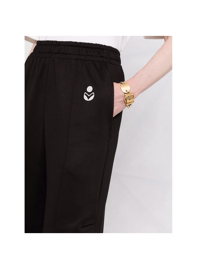Casual Wide Leg Track Pants in Black