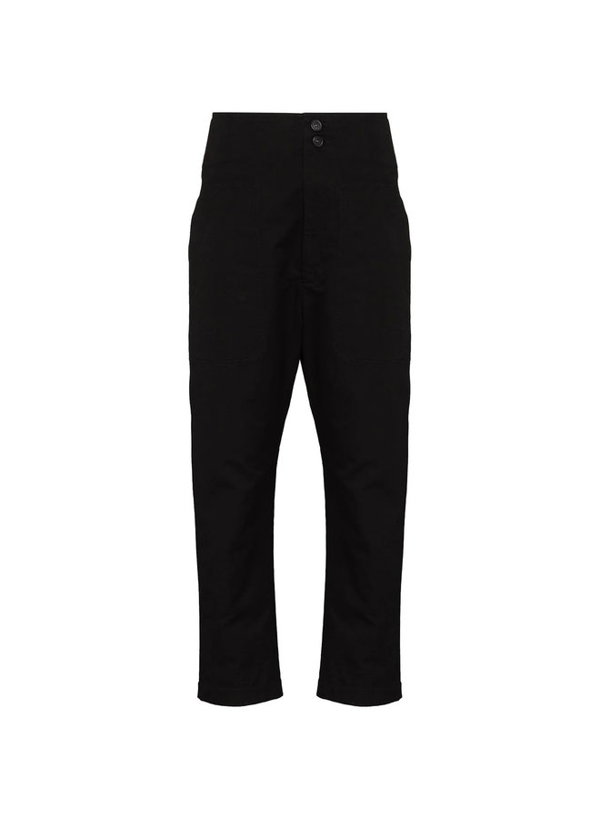 Casual Cropped Slim Leg Pants in Faded Black