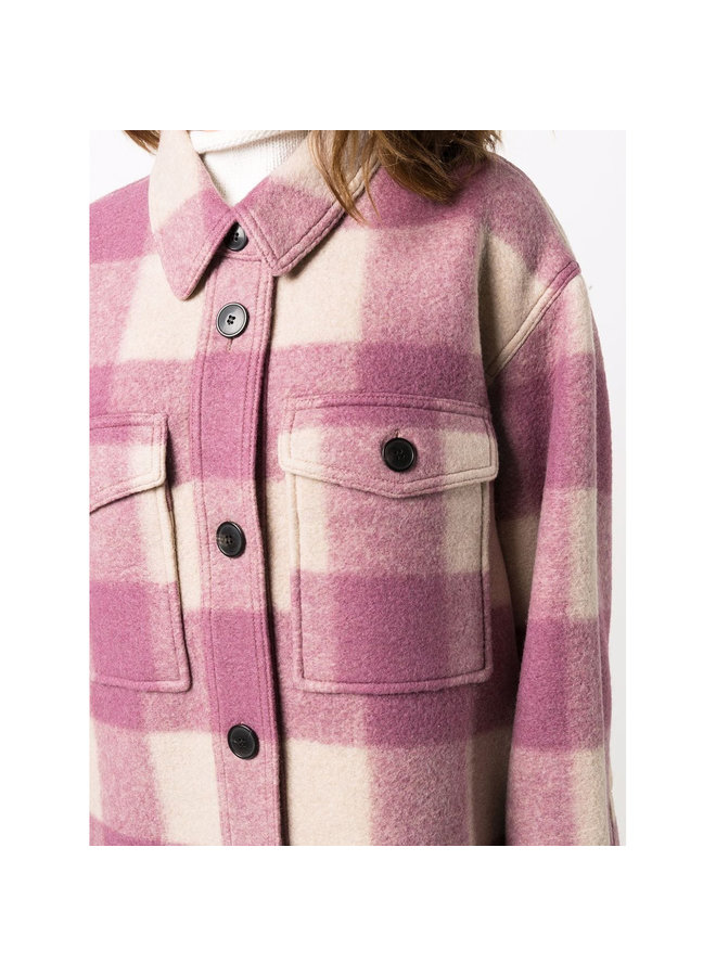 Check-Print Outwear Jacket in Rosewood