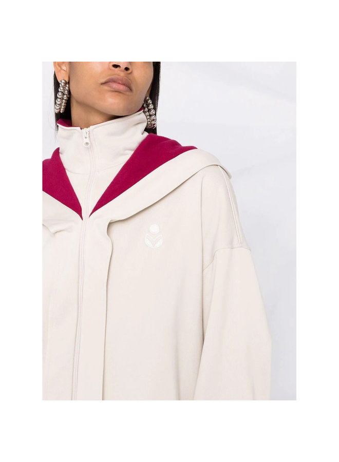 Logo Hooded Oversized Jacket in Ecru