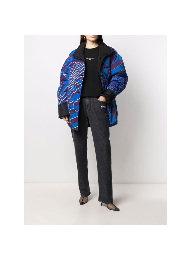 Graphic Print Reversible Outwear in Royal Blue