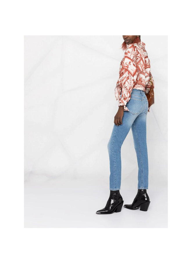 The Billy High Waisted Slim Jeans in Cotton in Washed Blue