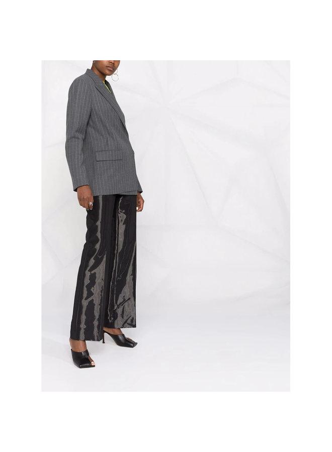 Stripped Blazer Jacket in Grey Melange