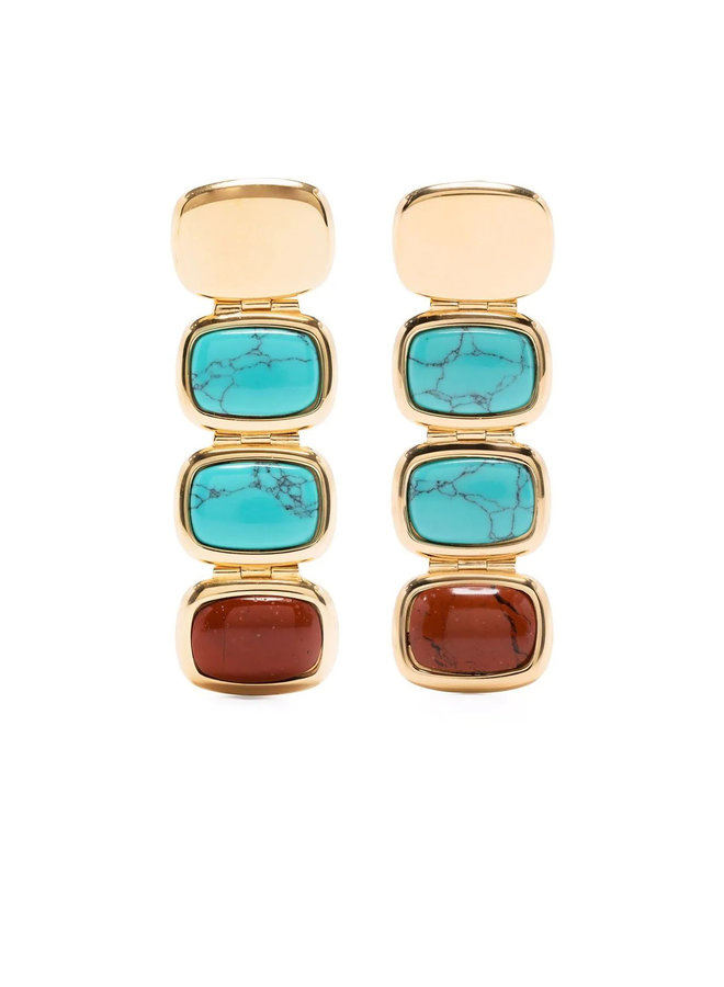 Skinny Toy Drops in Gold Turquoise and Red
