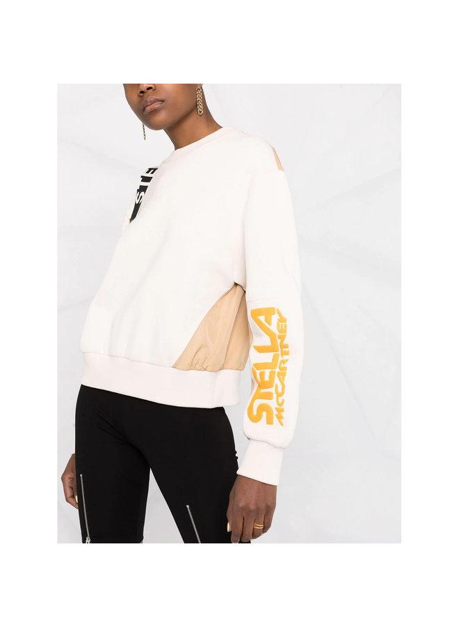 Logo Print Sweatshirt in Cream/Camel