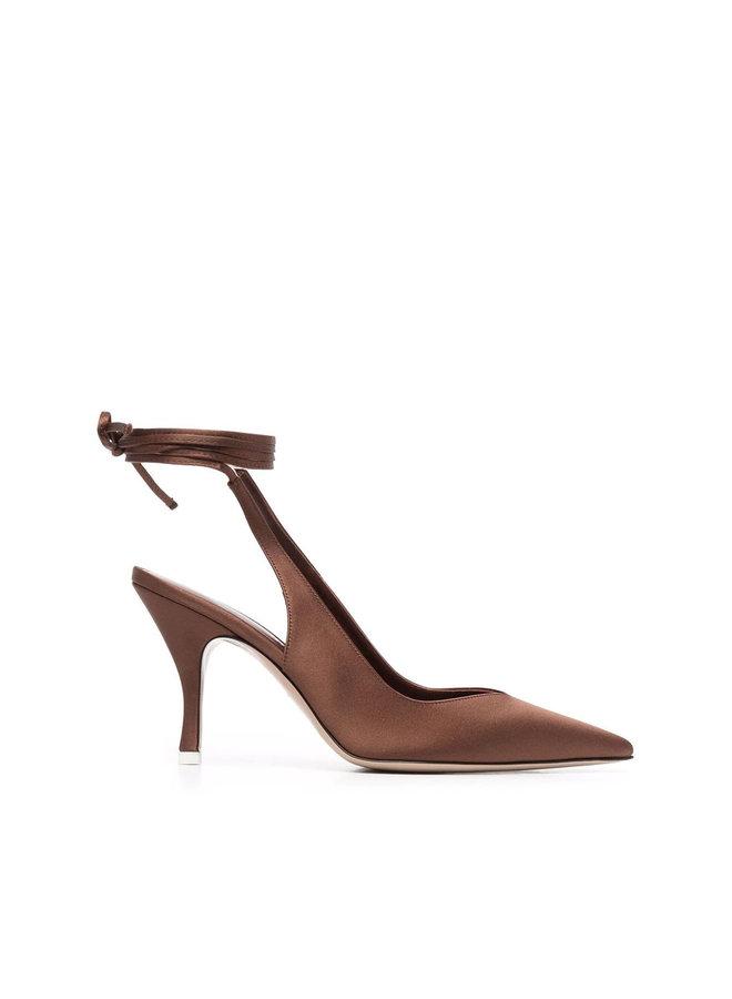 Venus High Heel Ankle-Tie Pump in Cigar