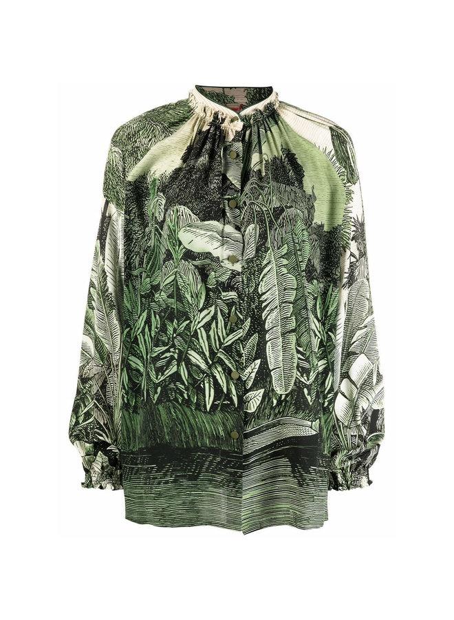 Long Sleeve Printed Shirt in Jungle Green