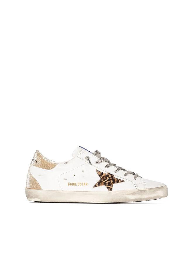 Superstar Low Top Sneakers in White/Leopard