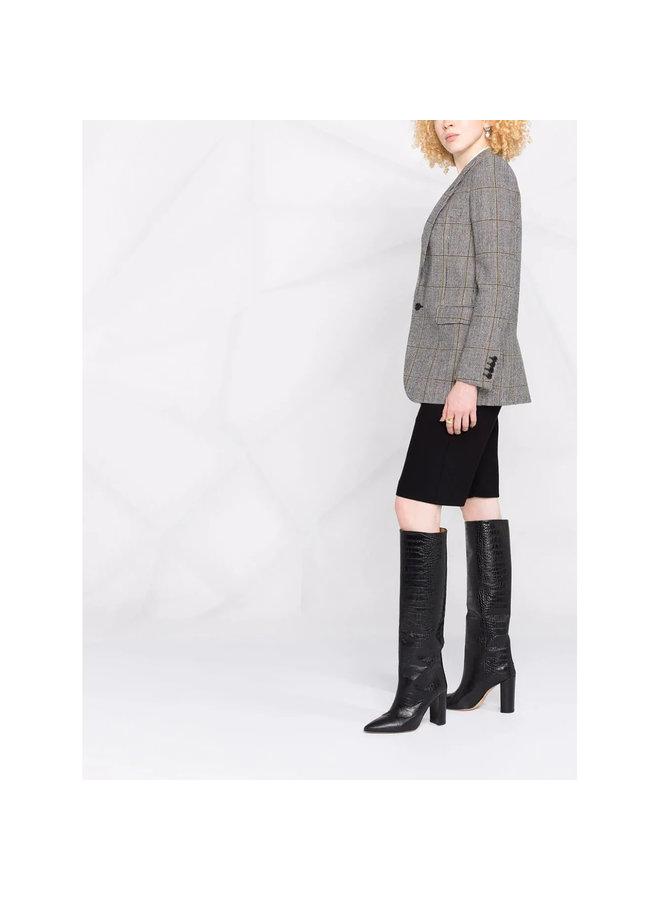 Plaid Single-Breasted Blazer Jacket in Grey/Black