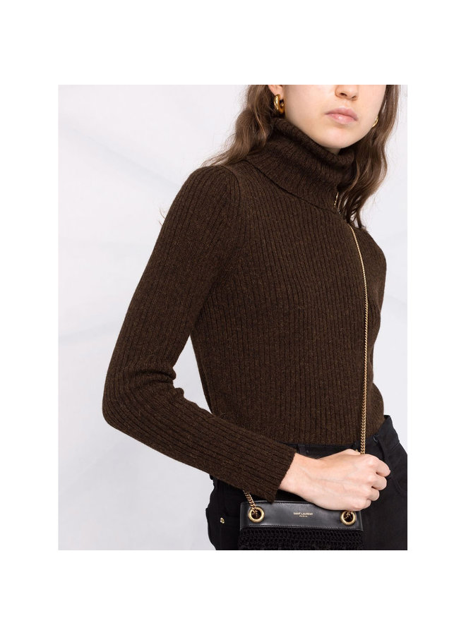 Knitted Turtleneck Top in Choco
