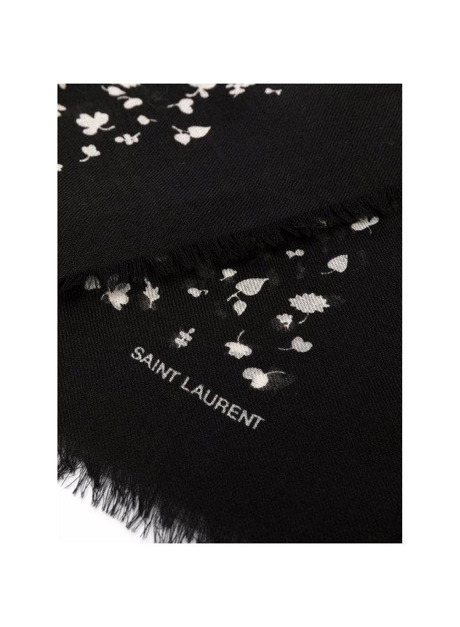 Leaf Printed Scarf in Black/Ivory