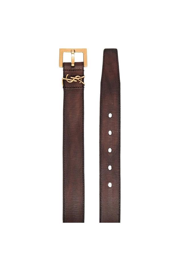 Logo Plaque Belt in Brown/Gold