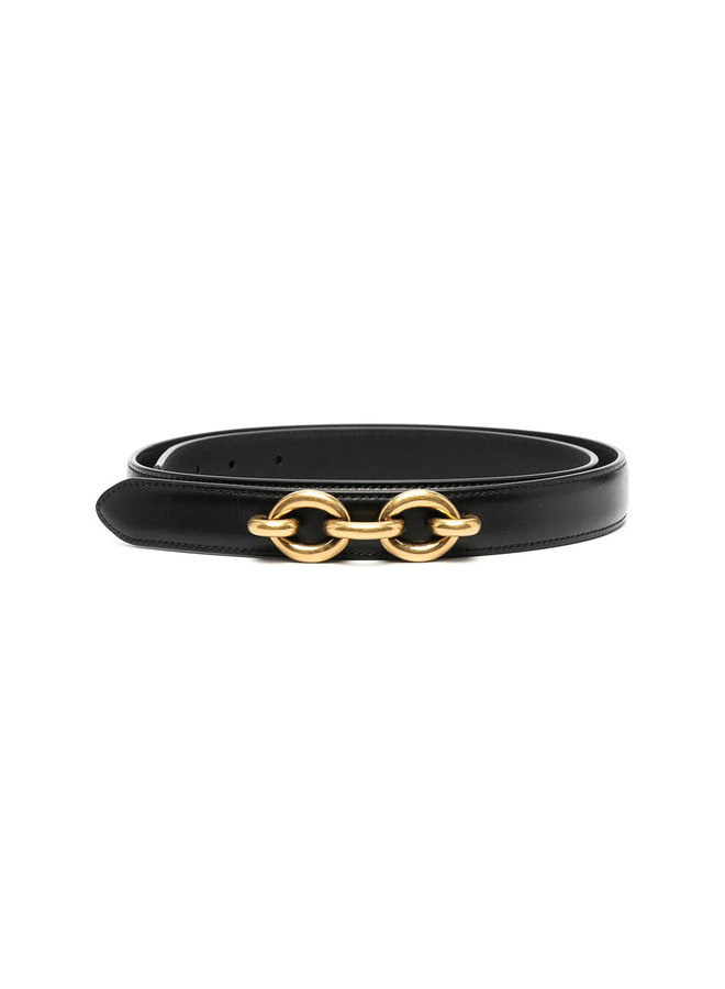Chain Detail Belt in Black/Gold
