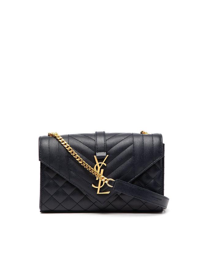 Small Envelope Shoulder Bag in Blue/Gold