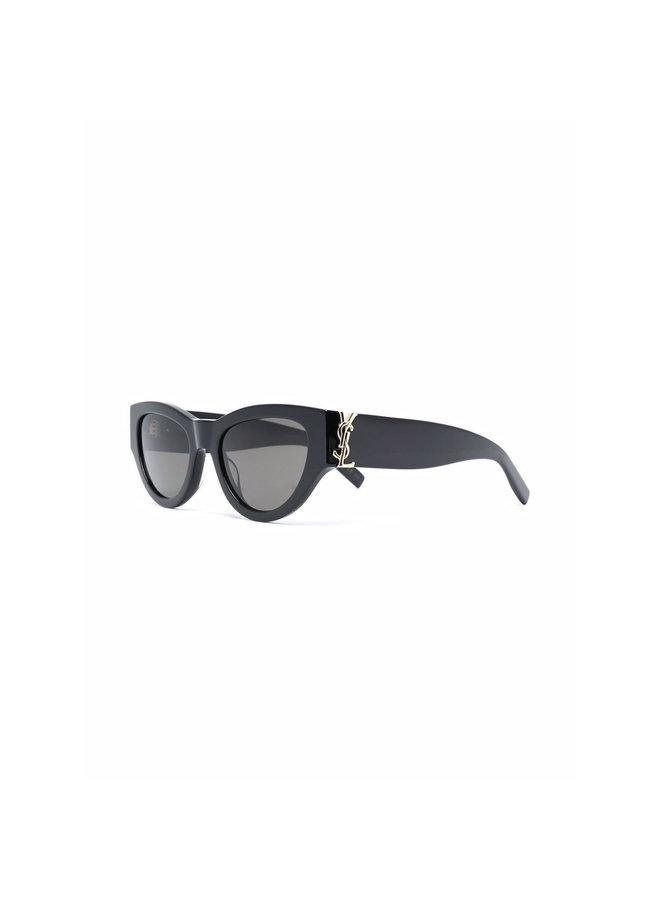 Logo Round Frame Sunglasses in Black