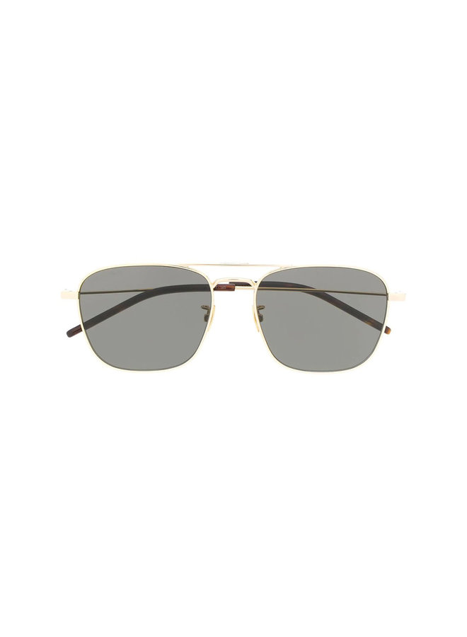 Square Frame Sunglasses in Gold/Grey