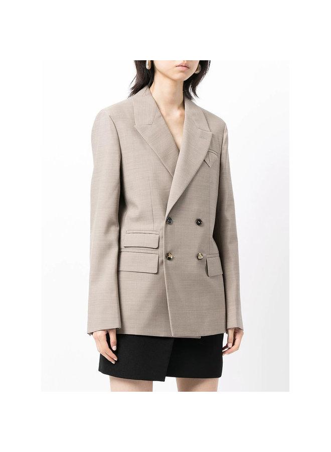 Double Breasted Blazer Jacket in Beige