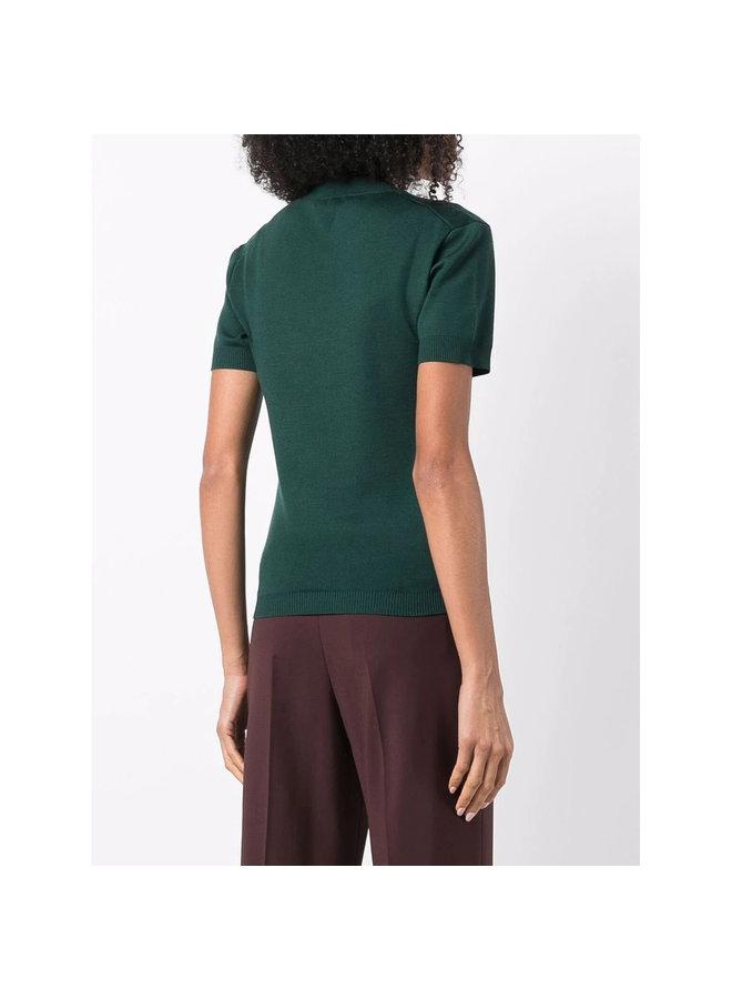 Scoop Neck Knitted Top in Dark Green
