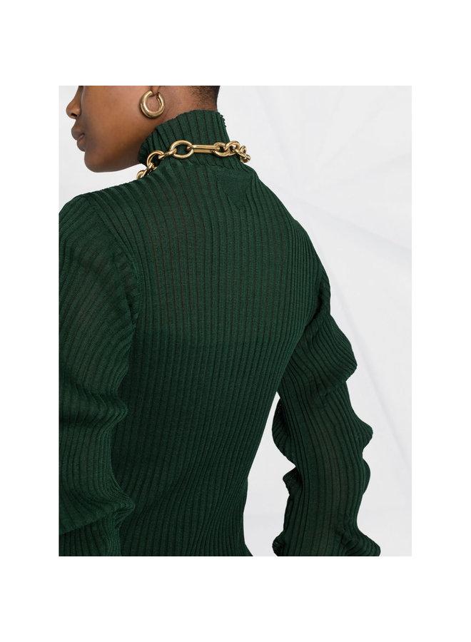 Midi Ribbed Dress in Dark Green