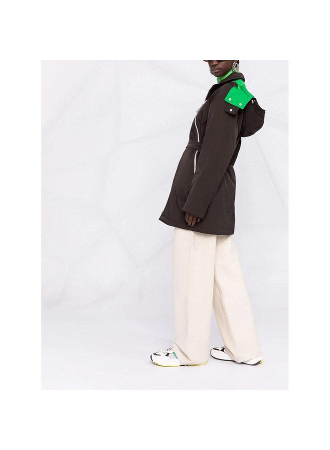 Short Hooded Coat in Brown/Green