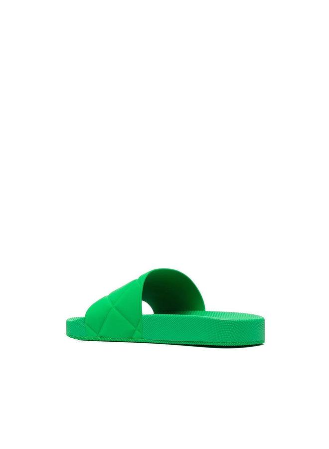 Intrecciato Flat Slides in Green
