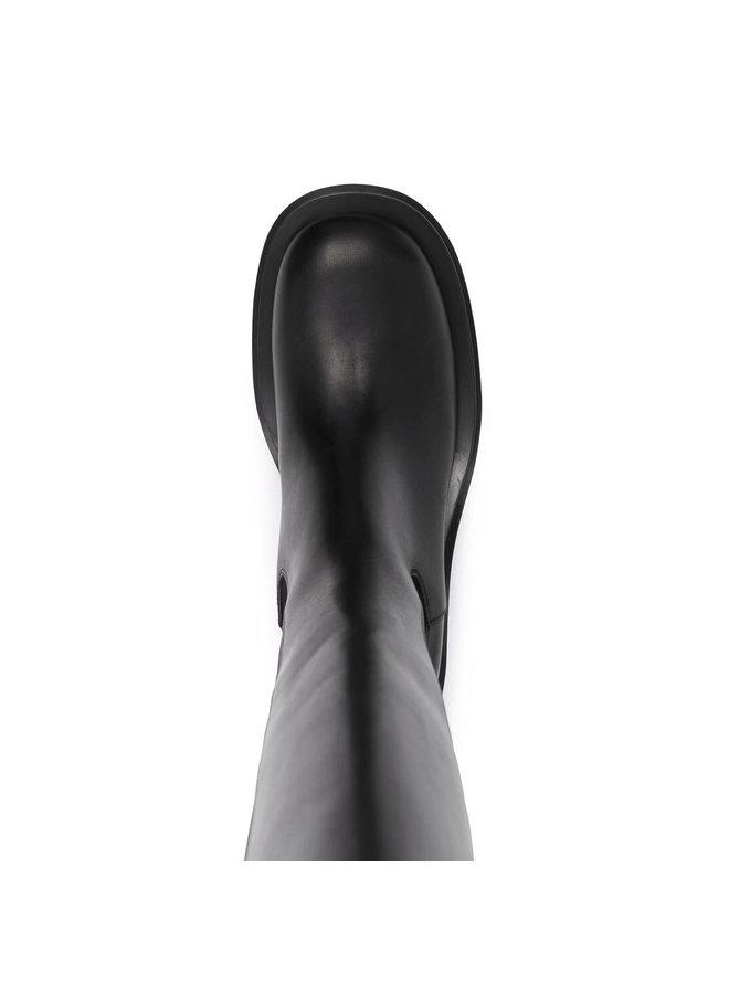 Lug Knee Length Boots in Black