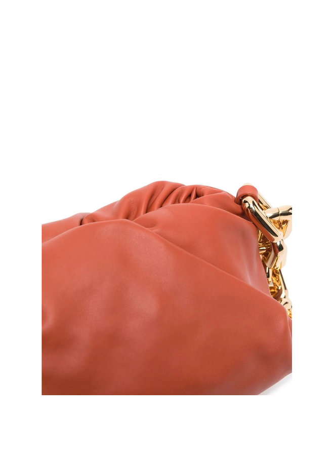 The Chain Pouch Shoulder Bag in Warm Ora/Gold
