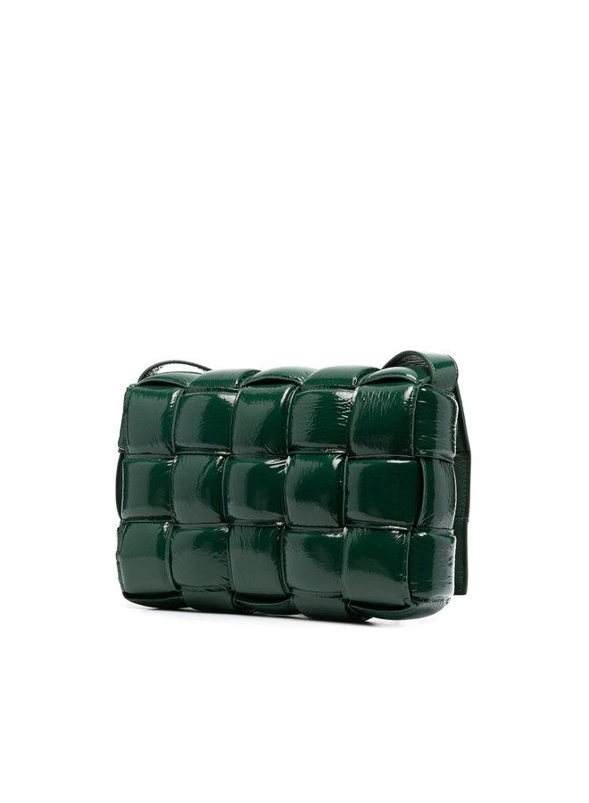 Padded Cassette Shoulder Bag in Green/Gold