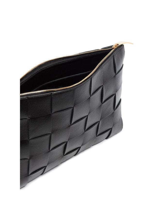 Rectangular Medium Zip Pouch in Black/Gold