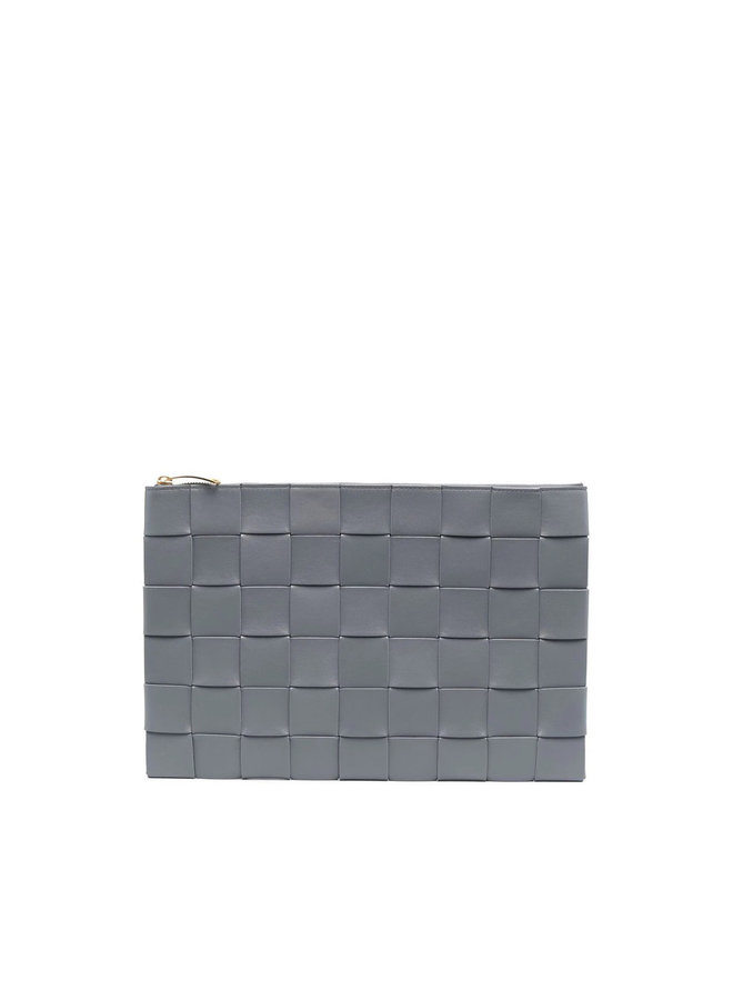 Rectangular Large Zip Pouch in Grey/Gold