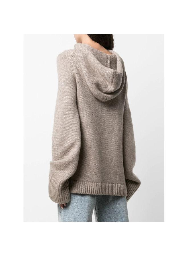 The Elodie Knitted Hoodie in Brown