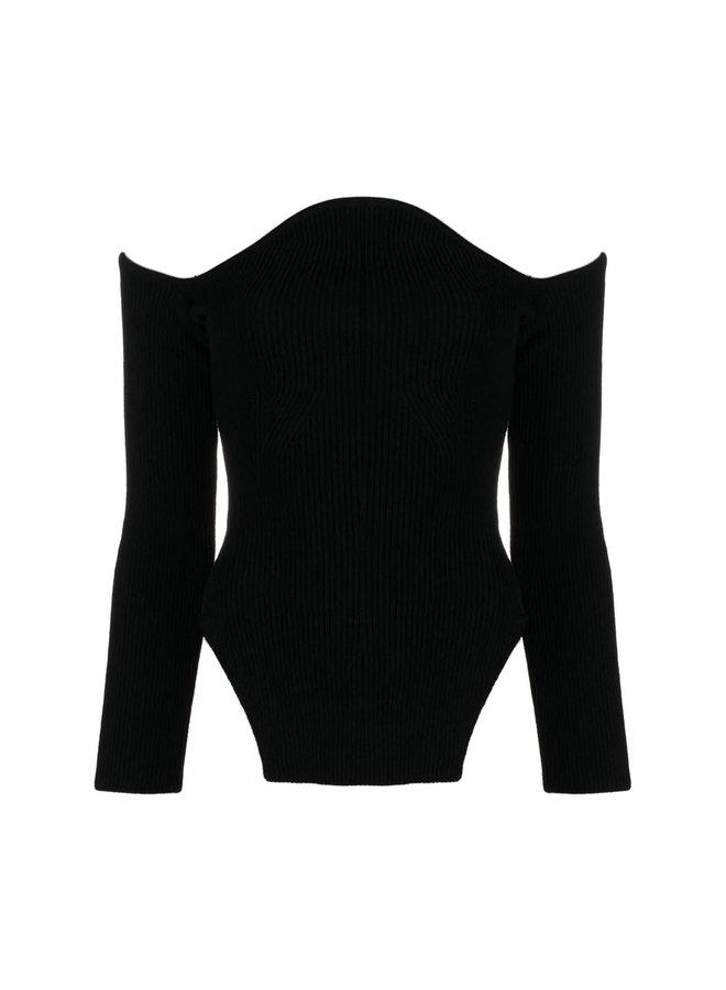 Maria Off-Shoulder Scalloped Jumper in Black