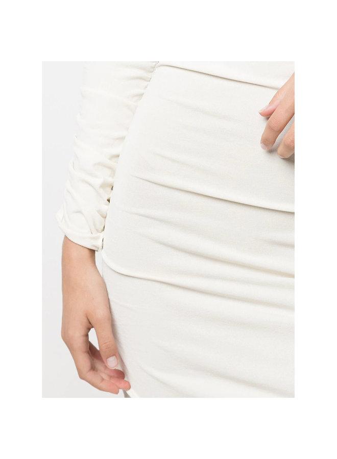 The Lydia Draped Midi Dress in Ivory