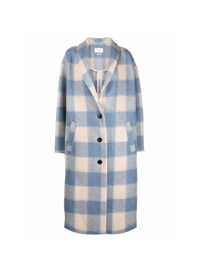 Long Check Printed Coat