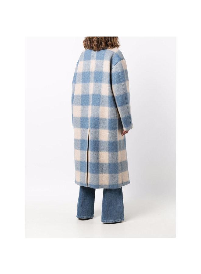 Long Check Printed Coat in Blue