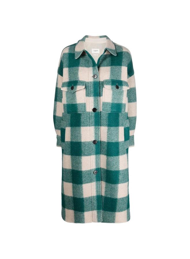 Long Check Printed Shirt Coat in Green
